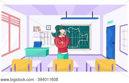 A Female Teacher Explains A New Topic. Sewing Lesson At A School For Seamstresses. Pattern Drawn On