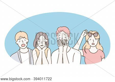 Shock, Surprise, Frustration, Anxiety, Worrying, Confusion, Panic Concept. Group Of Teenagers Cartoo