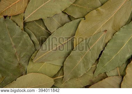Bay Leaves Texture - Top View And Closeup Of Dried Bay Leaves