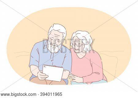 Senior Elderly Couple Living Happy Active Lifestyle Concept. Mature Aged Couple Grandparents Cartoon