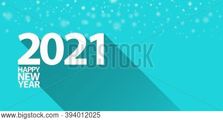 2021 Happy New Year Horizontal Banner Background Or Greeting Card With Text. Vector 2021 New Year Nu