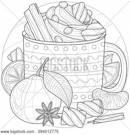 Cup Of Coffee With Cream, Marshmallows, Cinnamon And Tangerines.coloring Book Antistress For Childre