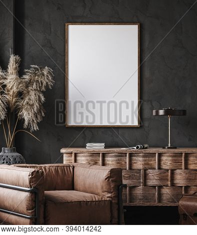 Frame Mockup In Modern Industrial Interior With Leather Furniture, Luxury Office, 3d Illustration