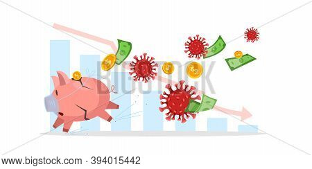 Financial Economy Crisis Concept With Scared Running Piggy Bank In Mask, Covid-19 Images, Coins,doll