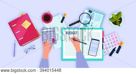 Financial Accounting Flat Lay Concept With Hands Managing And Planning Family Budget. Personal Month