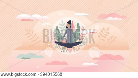 Meditation Harmony And Balance As Floating Peace Bubble Tiny Person Concept. Abstract Scene With Fem