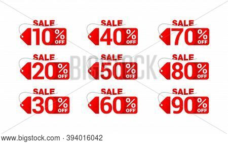 Sale Sticker Big Set In Paper Tag Form With Rope And Different Percentage -  10, 20, 30, 40, 50, 60,