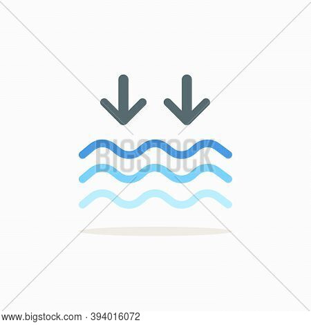 Low Tide. Color Icon With Shadow. Weather Glyph Vector Illustration