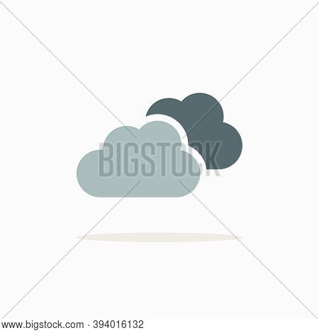 Overcast. Color Icon With Shadow. Weather Glyph Vector Illustration