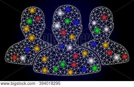 Glossy Mesh Leader Men Group With Light Spots. Illuminated Vector Model Based On Leader Men Group Ic