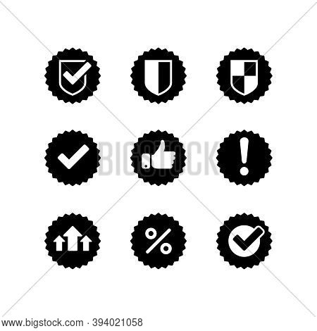 Monochrome Icons - With Symbols Of Security, Check Mark. Shield, Thumbs Up, Exclamation, Percentage
