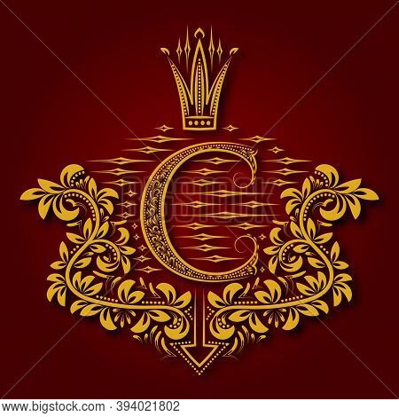 Letter C Heraldic Monogram In Coats Of Arms Form. Vintage Golden Logo With Shadow On Maroon Backgrou