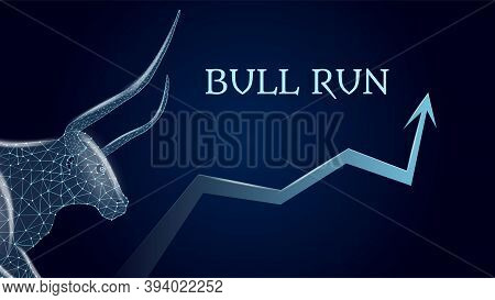 Bull Run With A Polygonal Bull Head And An Upward Arrow On Dark Blue Background. Bullish Trend On Th