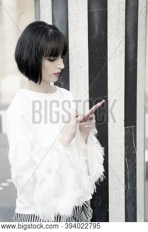 Date Canceled Send Message. Girl Fashionable Lady With Bob Hairstyle Texting Smartphone Outdoor Urba