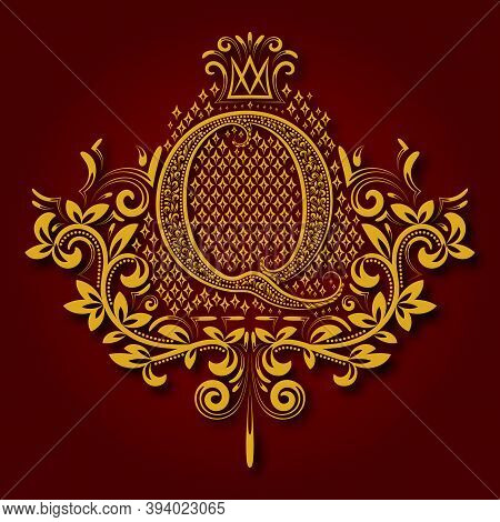 Letter Q Heraldic Monogram In Coats Of Arms Form. Vintage Golden Logo With Shadow On Maroon Backgrou
