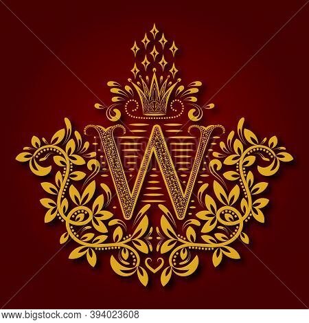 Letter W Heraldic Monogram In Coats Of Arms Form. Vintage Golden Logo With Shadow On Maroon Backgrou