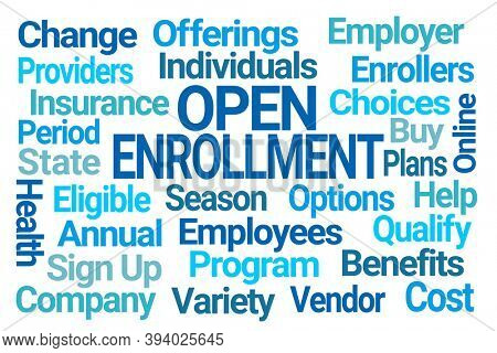 Open Enrollment Blue Word Cloud on White Background