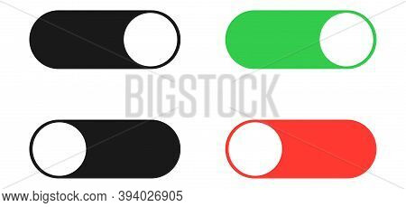 On And Off Toggle Set. Isolated Black, Green And Red Switcher On White Background. Turn Off And On S