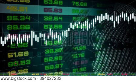 Stock Exchange Market Tickers Dashboard With Graphs And Charts . Digital Animation Of Stock Market P