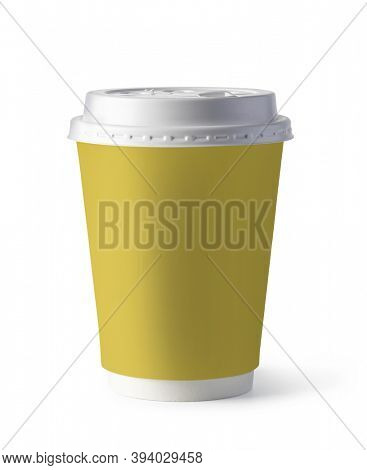 yellow plastic coffee cup, isolated on white background