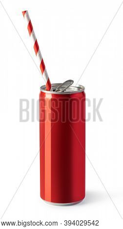 Red drink cans on white background