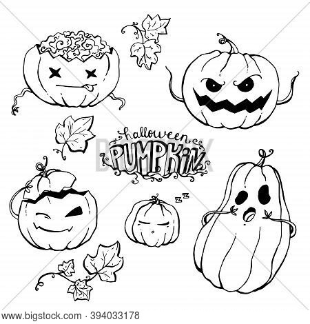 Set Of Lineart Vector Pumpkins For Halloween On A White Background.
