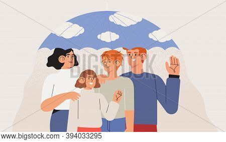 Medical Insurance Template With Happy Family Stand Together Under Umbrella. Healthcare, Safety, Life