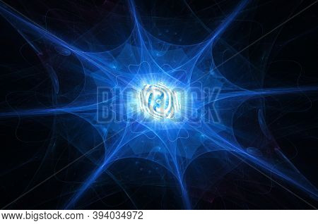 Blue Glowing Shiny Quantum Computer With Flowing Processes In Core, Computer Generated Abstract Artw