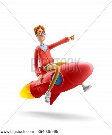 Innovation And Startup Concept. Nerd Larry Is Flying On A Rocket. 3d Illustration.