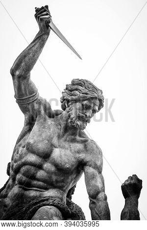 A Violent Statue Of A Man With A Knife, Prague Castle, Czech Republic