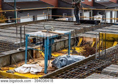 Construction Works On A Reinforced Concrete Slab