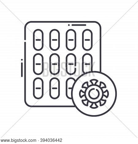 Antiviral Pills Icon, Linear Isolated Illustration, Thin Line Vector, Web Design Sign, Outline Conce