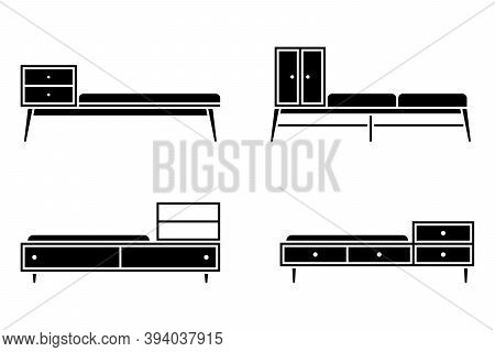 Apartment Hallway Cabinet, Ambry, Locker, Cupboard, Wardrobe, Storage, Shelf, Bench Vector Illustrat