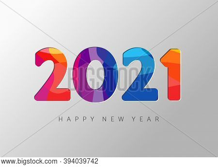 2021 New Year Banner With Paper Cut Numbers. 20 21 3d Facet Bright Colors Wavy Shapes. Minimal Cover