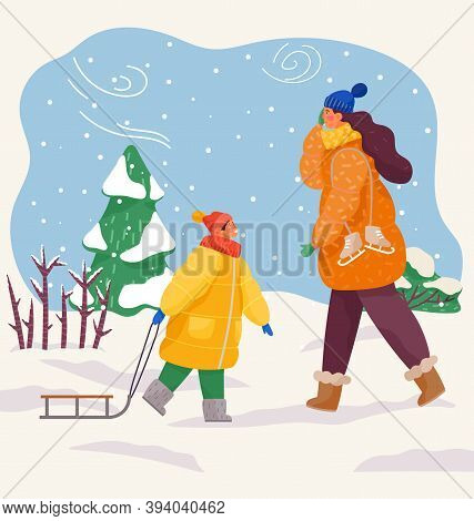 Couple Mom And Son Walking In Winter In Cold Weather. Happy Family Resting In Warm Clothes Outdoors