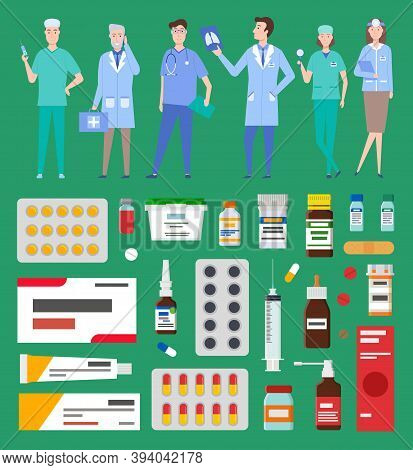 Medication Pharmacy, Hospital Set Of Medicines In Various Forms. Medication, Pharmaceutics Concept.