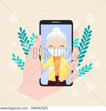 Vector Illustration Of Seniors Character With Smart Phone. Seniors Make Video Call To Communicate In