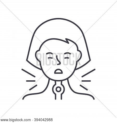 Angina Icon, Linear Isolated Illustration, Thin Line Vector, Web Design Sign, Outline Concept Symbol