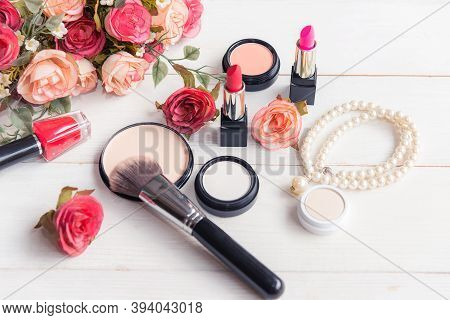 Gift Cosmetic.  Makeup Cosmetics Tools Background And Beauty Cosmetics, Products And Facial Cosmetic
