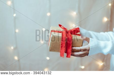 Give Gifts On The Big Day, People Holding Gift, Close Up.