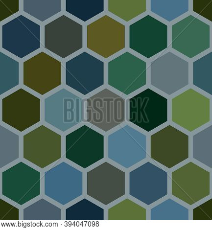 Seamless Geometry Hexagons Shapes. Earth Tone Blue & Green Honeycomb Pattern. Abstract Background Te