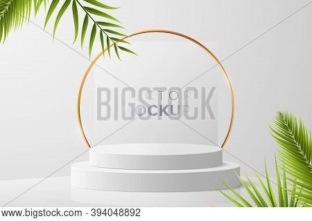 3d Round Podium Mockup In White Color. Empty Light Scene With Blank Podium, Golden Frame And Green T