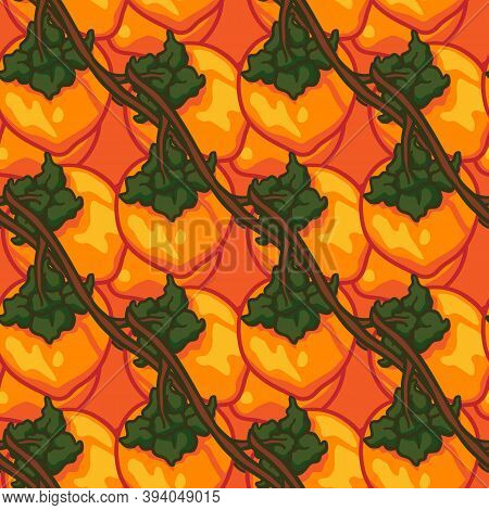 Seamless Pattern With Vector Doodle Persimmon. Hand Drawn Persimmon Fruit Background. Can Be Used Fo