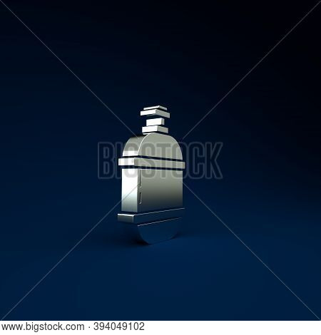 Silver Propane Gas Tank Icon Isolated On Blue Background. Flammable Gas Tank Icon. Minimalism Concep