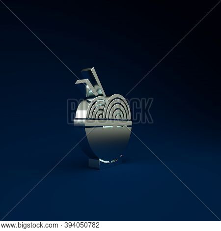 Silver Asian Noodles In Bowl And Chopsticks Icon Isolated On Blue Background. Street Fast Food. Kore