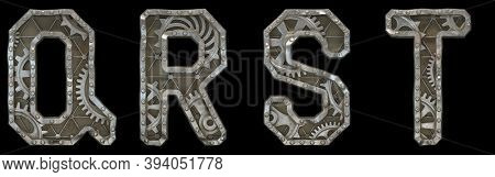 Mechanical alphabet made from rivet metal with gears on black background. Set of letters Q, R, S, T. 3D rendering