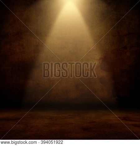 3D render of a grunge interior with spotlight shining down