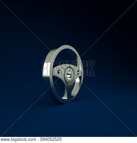 Silver Steering Wheel Icon Isolated On Blue Background. Car Wheel Icon. Minimalism Concept. 3d Illus