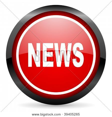 news round red glossy icon on white background