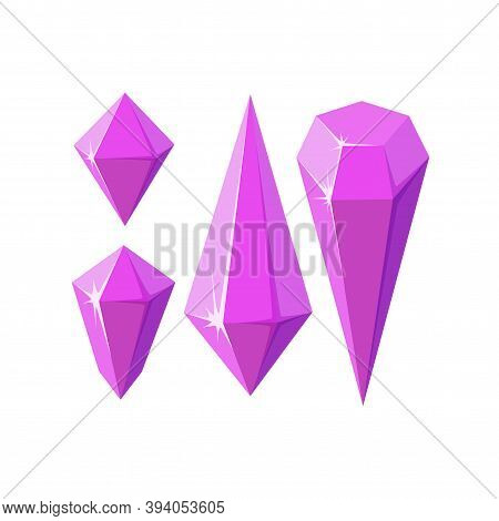 Pink Crystal Stones Like Amethyst Quartz. Geometric Gems Or Glass Crystals For Games And Other Desig